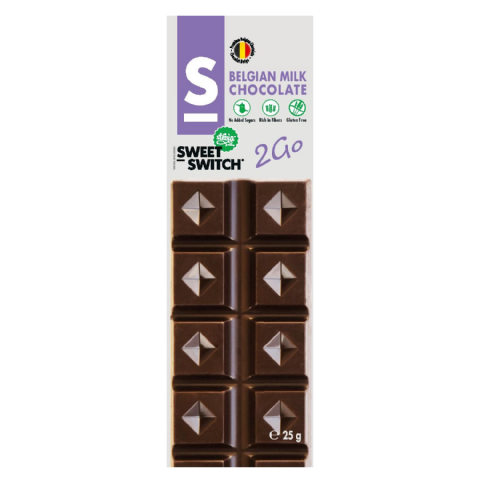 Milk Belgian Mini Chocolate Bar No Added Sugar Gluten Free Stevia SWEET SWITCH 25g